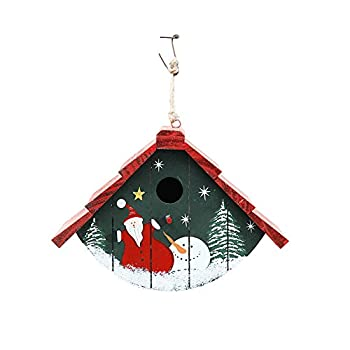 Waroom Home Birdhouse Set of Two, Traditional Cedar Wren House Decorative Hand-Painted Bird House Christmas Ornaments 7inch H x 9.5inch L x 5.5inch W (2-Pack)