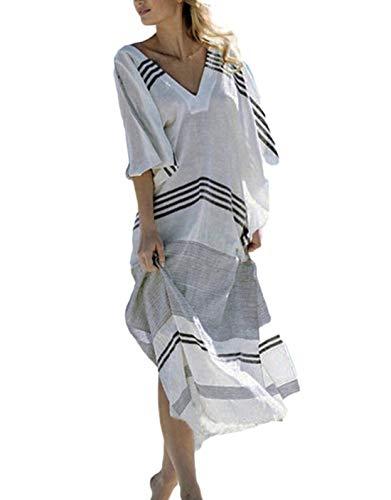 (Ailunsnika Sexy V Neck Striped Plus Size Turkish Robe Kaftan Dress for Women Beach Maxi Bikini Cover Up)