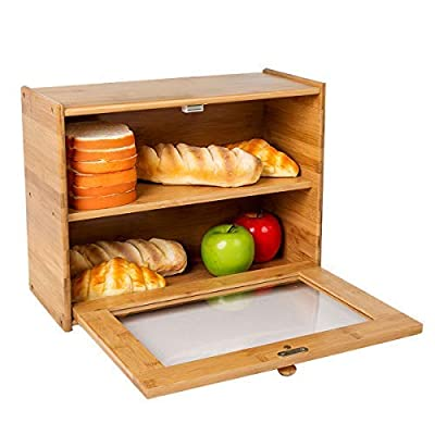 INDRESSME Bamboo 2- Layer Large Capacity Bread Box Countertop Bread Storage Bread Boxes for Kitchen Counter Retro Bread Bin with Transparent Window