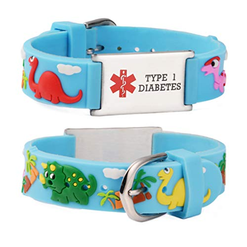 linnalove-Cartoon Blue Dinosaur Medical id Bracelet for boy & Girl,Kids-Pre-Engraving Type 1 Diabetes ()