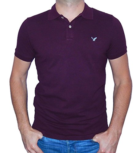 American Eagle Outfitters Mens Classic Fit Mesh Solid Polo T-shirt (Medium, Burgundy) (Mesh Solid Shirt)