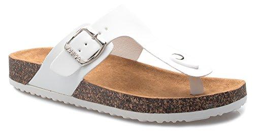 OLIVIA K Women's Casual Buckle T Strap Thong Strap Sandals Flip Flop Platform Footbed (Buckle Thong Sandal)