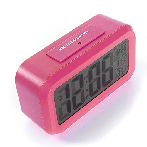 Shop24Hrs LED Digital LCD Alarm Clock Time Calendar Thermometer Snooze Backlight Red Color (Wwe Rush Hour)