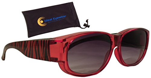 Animal Print Fit Over Sunglasses by Ideal Eyewear - Wear Over Prescription Glasses - Over Eyeglasses - Light and Comfortable - Case Included (Tiger with case, Medium) Tiger Eyeglass