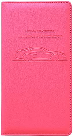 Ucreative Premium PU Leather Car Registration and Insurance Documents Holder for ID Driver's License Key Contact Information Cards (Hot Pink)