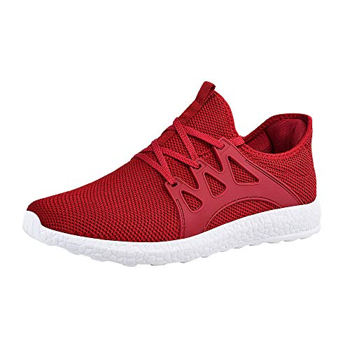 ZOCAVIA Mens Sneakers Lightweight Breathable Casual Gym Running Shoes, Size 7 M US Red White