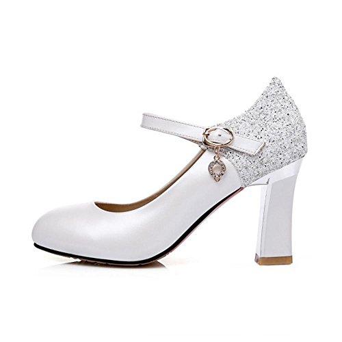 Mode White Cheville Bride Taoffen Escarpins Femmes HxwXwU5