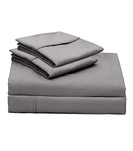 Lily Linens 400 TC Plain Long Stapled Satin Premium 100% Cotton 4-Piece Bed Sheet Set (Queen, Elephant Grey) - Flat Sheet, Fitted Sheet and 2 Pillow Cases