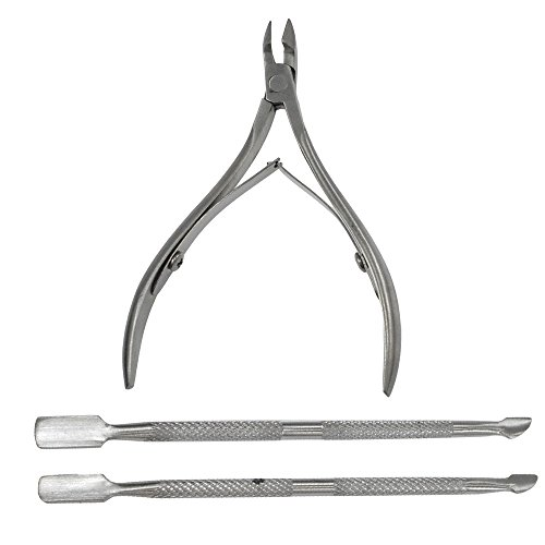 3Pcs/Set Stainless Steel Nail Cuticle Nipper Spoon Cuticle Pusher Sliver Nipper Clipper Manicure Plier Cutter Nail Tools BENJ221 (Matte Place Spoon)