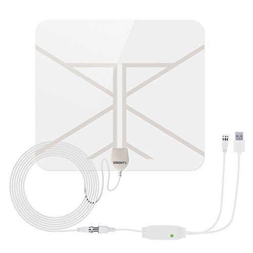 Transparent HDTV Antenna, WochiTV 50 mile Range Indoor Antenna Digital TV antenna with Detachable Amplifier Signal Booster, USB Power Cable and 20ft High Performance Coax Cable for free TV programme (Internal Hd Tv Antenna)