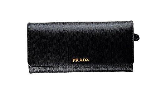 Prada Womens 1MH132 2BNC Vitello Move BI Leather Wallet Nero (Black)
