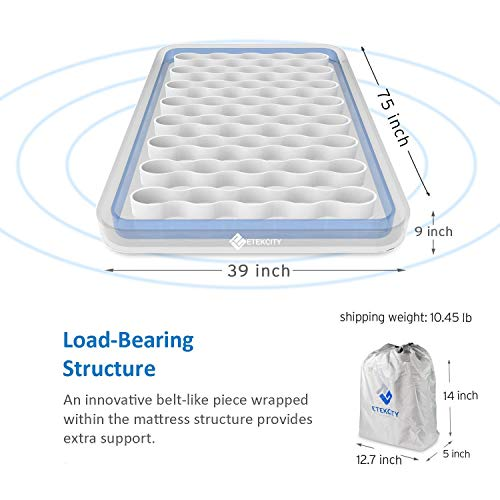 Etekcity Camping Air Mattress Inflatable Single High Airbed Blow up Bed Tent Mattress with Rechargeable Air Pump, Height 9″, Twin Size