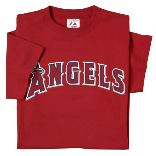 Los Angeles Angels of Anaheim (ADULT 2X) 100% Cotton Crewneck MLB Officially Licensed Majestic Major League Baseball Replica T-Shirt -