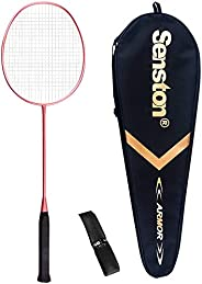 Senston Single Badminton Racket S-200 Graphite Carbon Badminton Racquet (Pink/Gold) with Premium Quality Prote