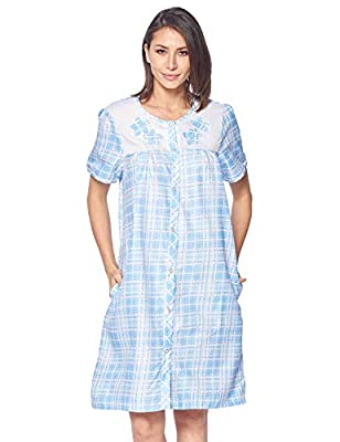 Casual Nights Women's Short Sleeve Snap-Front Lounger Duster House Dress