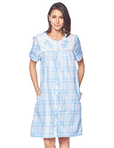(Casual Nights Women's Snap Front House Dress Embroidered Short Sleeve Seersucker Duster Housecoat Robe Lounger, Plaid Blue, Medium)