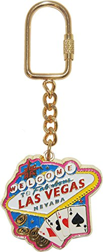 Welcome To Las Vegas Casino and Playing Cards Gold Plated Keychain