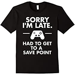 Men's Sorry I'm Late Gamer T-Shirt Funny Gaming Geek Tee XL Black