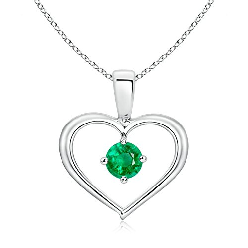 (Solitaire Round Emerald Open Heart Pendant in 14K White Gold (4mm Emerald))
