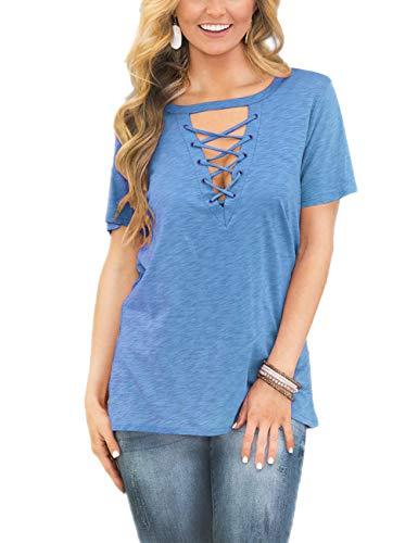 FAVALIVE Womens Short Sleeve T-Shirt Blouses Plus Size V Neck Light Blue - Cross Blue Light
