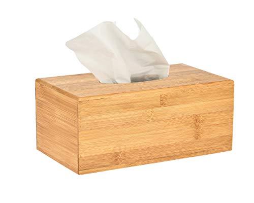 Alpine Industries Wooden Bamboo Rectangular Tissue Box Cover - Eco Friendly Pull Holder/Dispenser - Decorative Organizer for Bathroom, Office Desk & Car (Bamboo) ()