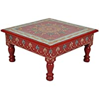Ethnic Decorative Hand Painted Wooden Bajot Puja Chowki Footstool Table 11 X 11 X 5.5 Inch