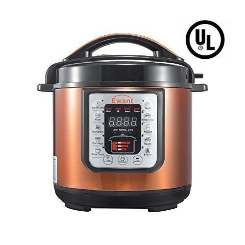 Ewant 9-in-1 Multi-functional Electric Pressure Cooker, Pressure Cooker, Slower Cooker, Digital Stainless Steel Pressure Cooker, Rice Cooker, 6 Quart/1000W, Orange