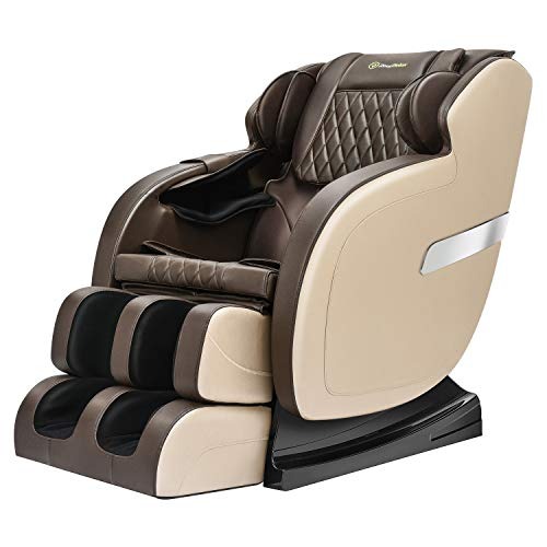 Real Relax Full Body Massage Chair Recliner with Yoga Stretch, Rocking Function, Bluetooth, Khaki