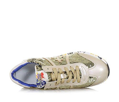 PREMIATA - Chaussure à lacets dorée, en cuir et paillettes, logo sur la languette, Fille, Filles, Femme, Femmes