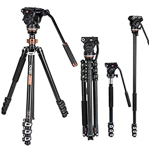 Kit monopiede treppiede video professionale, Cayer AF2451 Cavalletto treppiede telescopico in alluminio 67 pollici con… 2 spesavip