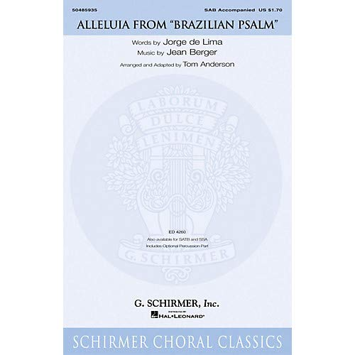 Alleluia Sab Music Book - Alleluia (from Brazilian Psalm) SAB arranged by Tom Anderson, Pack of 3