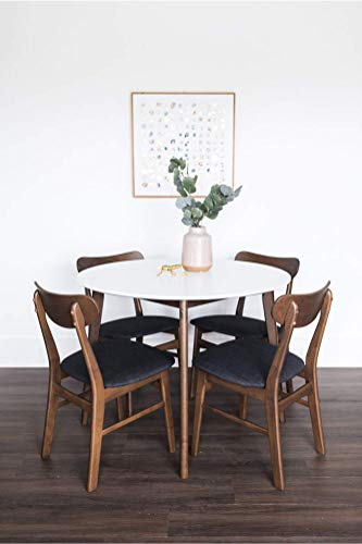 Edloe Finch Dakota Mid-Century Modern 5 Piece Round Dining Table Set for 4, White Top by Edloe Finch (Image #1)