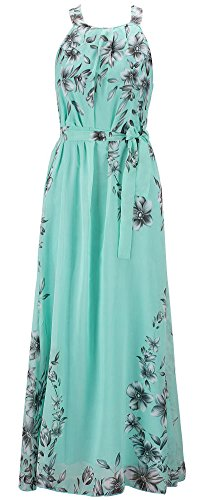 Chinmoon Women's Plus Size Casual Dresses Sleeveless Summer Chiffon Maxi Dress,US Small/Asian M,Green