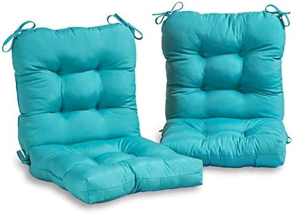 South Pine Porch AM6815S2-TEAL Solid Teal Outdoor Seat/Back Chair Cushion