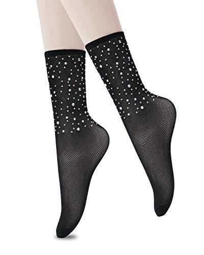 (CHRLEISURE Women's Sparkle Rhinestone Fishnets Sexy Tights High Waist Stockings 1821)