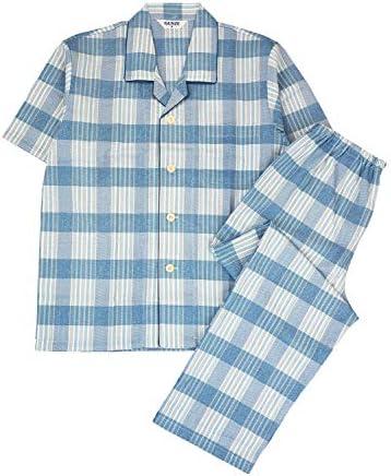 (グンゼ)COOLMAGIC 紳士半袖・長パンツパジャマ 綿100%吸汗速乾 チェック柄 SF1020