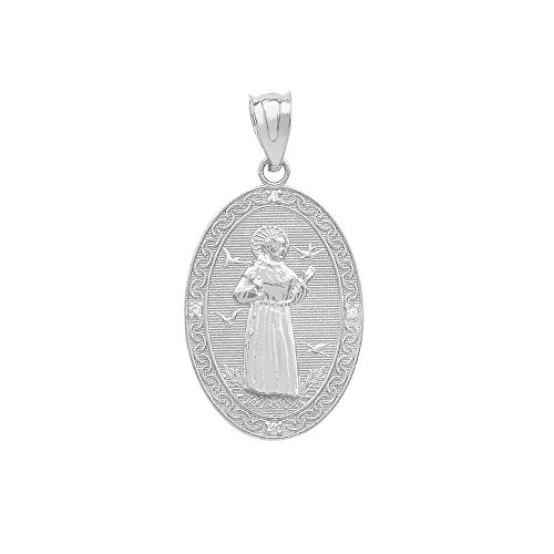 925 Sterling Silver Saint Francis Of Assisi CZ Oval Medal Charm Pendant (Small)