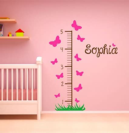 Amazon com girl growth chart decal butterfly growth chart wall