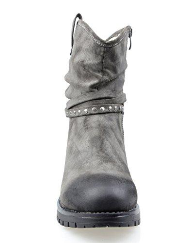 Eyekepper Mujer Fully forrado Mid-Calf Slouchy Boot con Multi Buckle correas gris