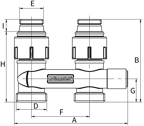 F10079 SIMPLEX Module inverseur avec raccords filet/és /équerre pour radiateur /à robinetterie int/égr/ée