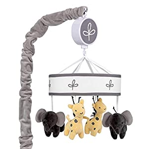 Lambs & Ivy Me & Mama Musical Baby Crib Mobile – Gray, White, Animals, Safari