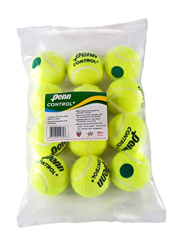 Penn Control Plus Tennis Balls - Youth Felt Green Dot Tennis Balls for Beginners - 12 Ball Polybag