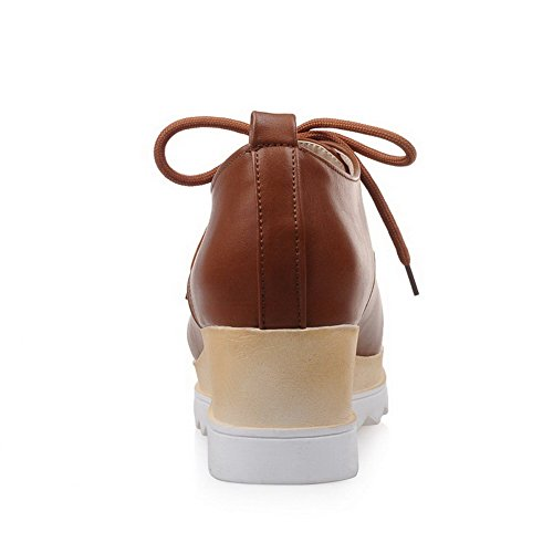VogueZone009 Women's Square Closed Toe Kitten-Heels Soft Material Solid Lace-up Pumps-Shoes Brown 8n7BcI