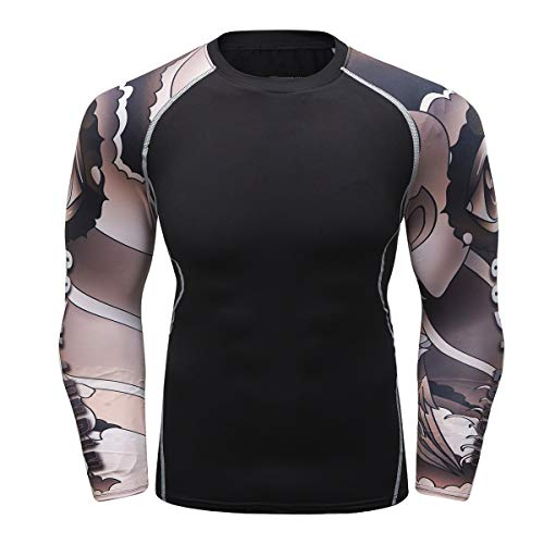 Fanii Quare Men's Soft Fit Long Sleeve Workout Rashguard Cool Dry Compression Fitness Shirt Brown Robot M ()