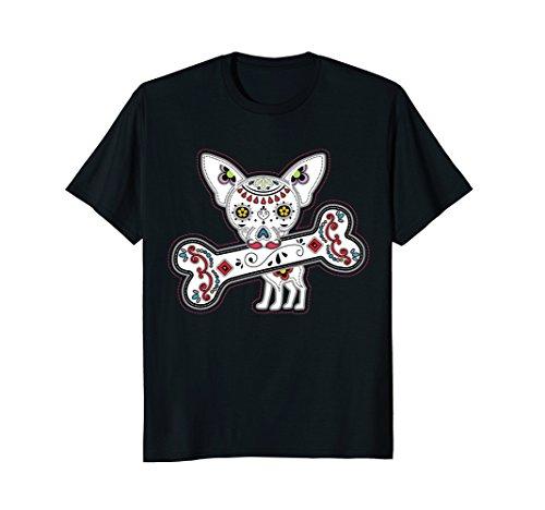 Mens Dia De Los Muertos Sugar Skull Chihuahua Shirt Large (Dia De Los Muertos Men)