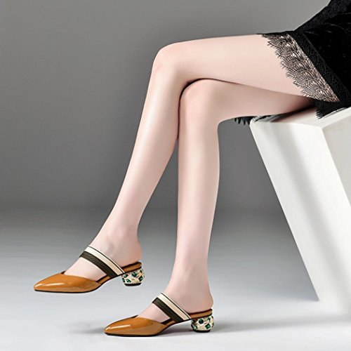 Leather Sandals Rhinestone Fashion Caramel Novelty Pointed Shoes Shoes Baotou Summer Casual Slippers GAOLIXIA Heels Women's Outdoor xwSgX0qZf