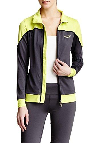 Blocked Neck Color Mock - Isaac Mizrahi Women's Sport Color Blocked Trak Jacket - Charcoal/Lime - Large