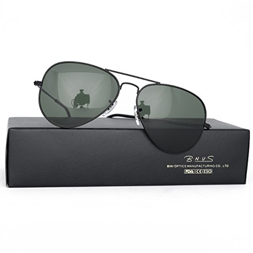 Bnus corning natural glass new pilot sunglasses italy made with polarized choices aviator (Frame: Matte Black / Lens: Green G15, - Italy Sunglasses