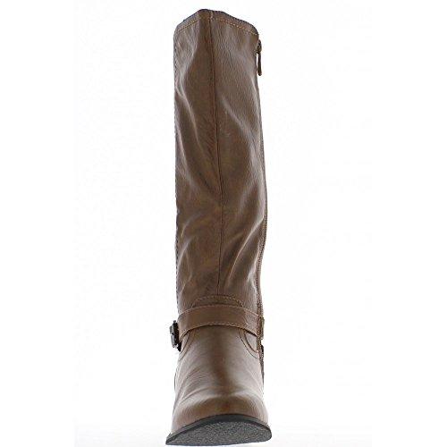 Bottes femme camel bi matière à talons de 4cm
