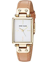 Anne Klein Women's AK/3204WTPE Gold-Tone and Peach Colored Leather Strap Watch